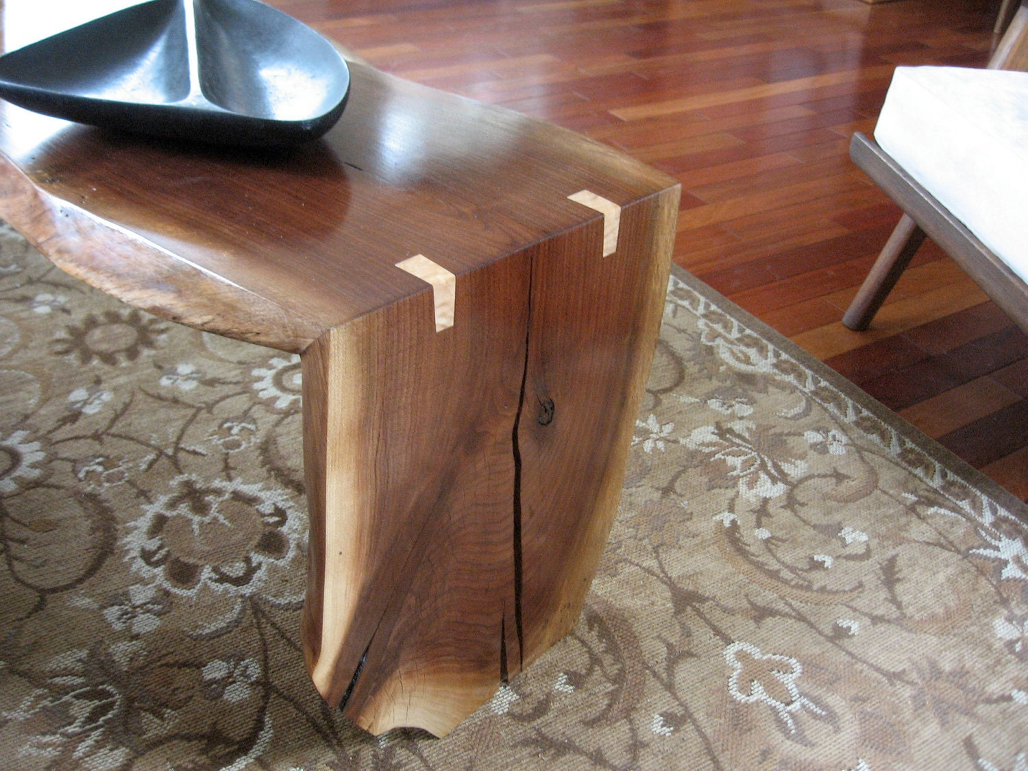 Black Walnut Live Edge Folded Slab Coffee Table