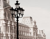 Paris Photography - The Louvre, Classic Black and White Sepia Photograph, Urban Home Decor, Wall Art, French Architecture