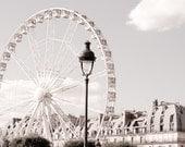 Paris Photo -  Ferris Wheel, Roue de Paris, Classic Black and White Sepia Photograph, Urban Home Decor, Wall Art, French Architecture