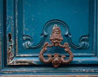 Paris Photo   Echoes, Ornate Door Knocker, Architectural Detail Fine Art  Photograph, Urban