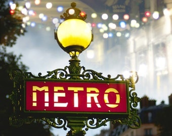 Paris Photography - Metro Sign at Night, Lamp Post, Red, Twinkle Lights, Festive, Holiday, French Wall Decor