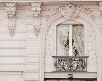 Paris Photograph, Baroque Window, Classic Black and White Photo, Neutral Home Decor, Wall Art, French Architecture