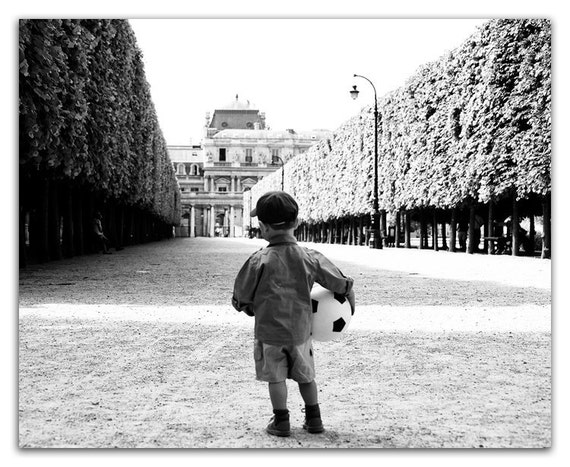 Paris Photography - Black and White Photograph, Young Boy with Soccer Ball, Le Football,  Nursery Decor, Wall Decor