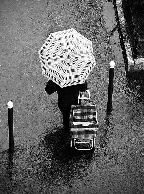 Paris Black and White Photography - Umbrella in the Rain, Umbrella, Paris Street Scene, French Wall Decor