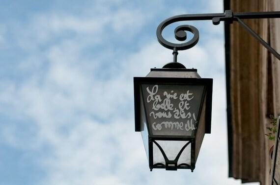 Paris Graffiti Photograph - La Vie Est Belle, Street Lamp, Urban Home Decor, French Decor, Large Wall Art