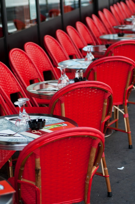 Paris Red Cafe Chairs in Paris Bistro Fine Art