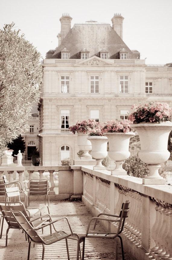 Paris Photography - Luxembourg Garden, Paris photograph decor, Neutrals, Gardens, Chairs, Sepia Fine Art Photograph, Urban Home Decor