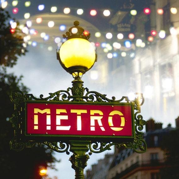 Paris Christmas Decorations: Paris Photography Metro Sign At Night Lamp Post Red