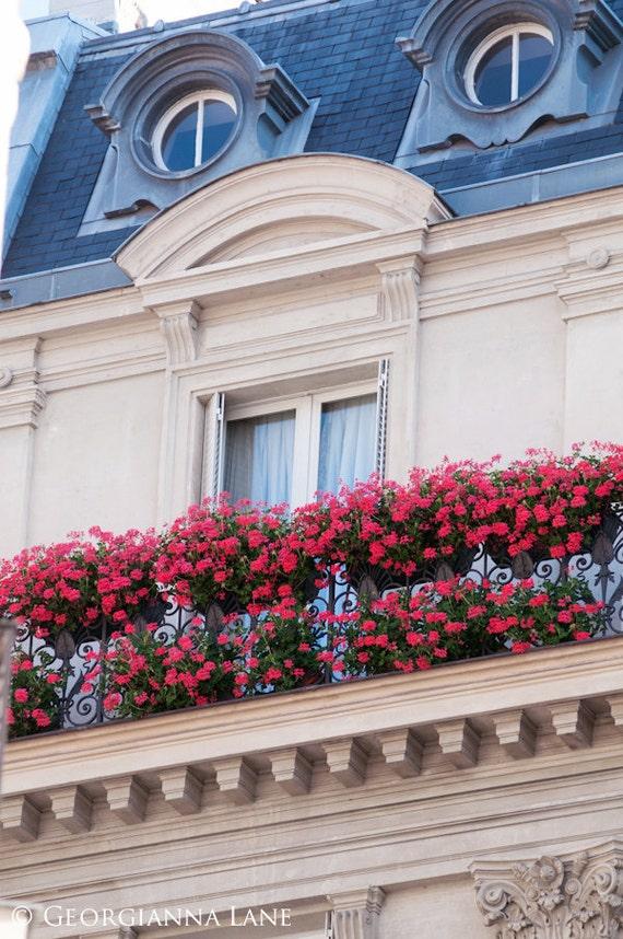 Paris Photography - Geraniums on Parisian Balcony - Architecture - Parisian Home Decor, Wall Art