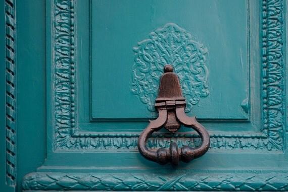 Paris Photograph - Teal Door Knocker, Architectural Fine Art Photograph, Urban Home Decor, Affordable Wall Art