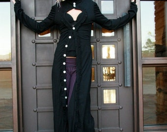 Victorian style with comfort! Bamboo Black Keyhole Coat, A super cozy/comfy lightweight jacket/dress NOW w/ POCKETS & removeable hood