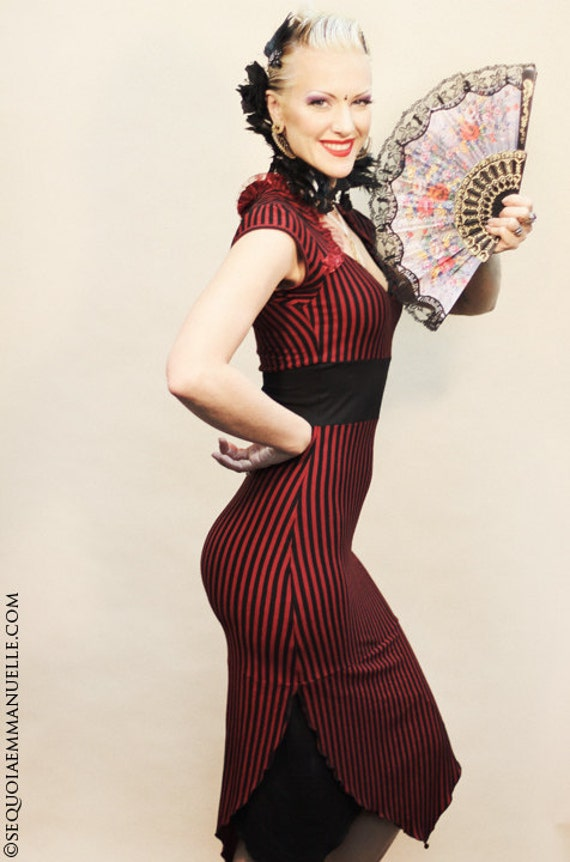 Red and Black Stripey Pin-up Lotus Dress