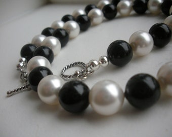 Black and White Swarovski Pearl Necklace and Earrings