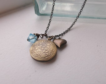 Antiqued Brass Mommy Necklace