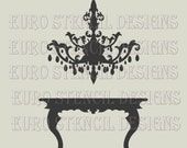Euro Stencil Design ... Chandelier K over table  French used for burlap pillows, bedding, sign painting ... 8 x 8  inches