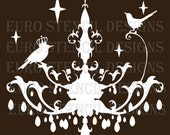 Euro Stencil Design ... Chandelier K with Birds  French used for burlap pillows, bedding, sign painting ... 8 x 8  inches