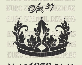 SALE - Euro Stencil Design  French Family Feedsack crown with Laurel Wreath used for burlap pillows, bedding, sign painting  12 x 18  inches