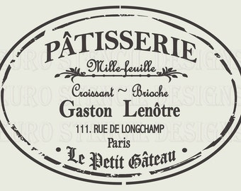 Euro Stencil Design ...  PARIS Patisserie label French used for burlap pillows, bedding, sign painting ... 12 x 18  inches