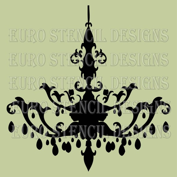 Euro Stencil Design ... Chandelier K  French used for burlap pillows, bedding, sign painting ... 12 x 12  inches
