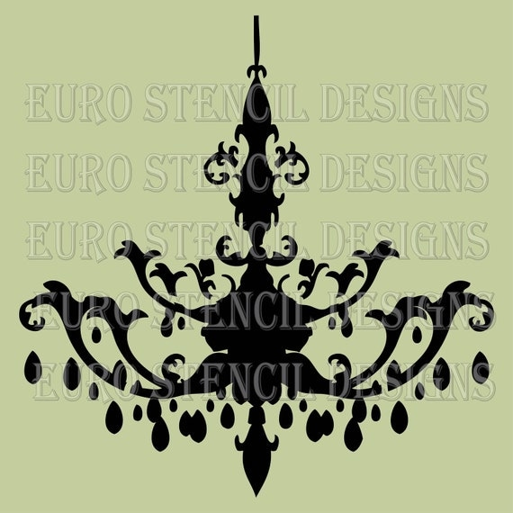Euro Stencil Design ... Chandelier K  French used for burlap feedsack pillows, bedding, sign painting ... 8 x 8  inches