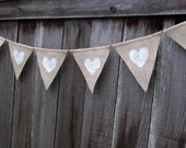 Hearts : Sweet Burlap Bunting in white