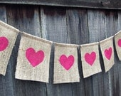 Hearts : Sweet Burlap Bunting in Pink