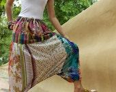 Patchwork...Ethnic India Print Bold Multi Color Festival Patchwork Harem Pants Genie Pants Yoga S M L Boho Hippie
