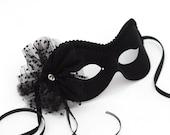 Limited Edition Black Diamante Net Rosette Masquerade Mask
