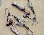 The two Paulas. Rustic Gypsy Assemblage Earrings with Doll Legs