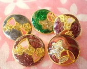 5  Vintage Metal Buttons ( Thailand ) Buttons Mix Color Apply  to  Thai silk For Thailand. Buttons bracelet. NO.8