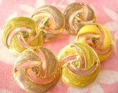 6 Vintage BUTTONS ( Thailand ) Metal buttons, 2 colors, 2.00 cm, Perfect for button jewelry (( Excellent & RARE ))NO.13