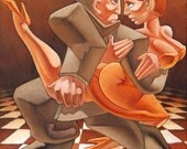 "Original figurative oil painting of a dancing couple, ""Allegro vivo"", oil on canvas, 30 x 30cm"
