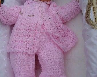 Four piece crochet baby set set