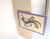Hand-Stamped Peacock on Kraft with Purple Accent Note Card