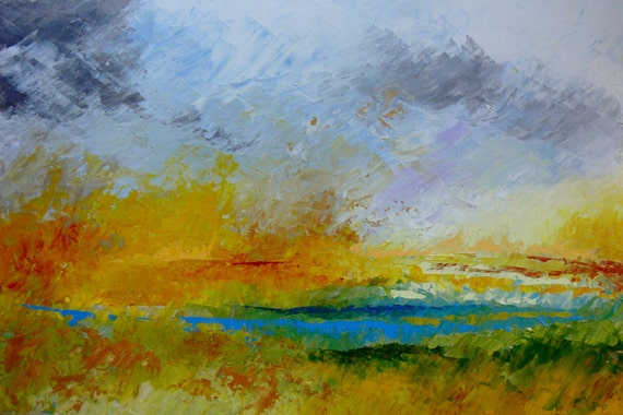 "Reserved for Melissa - Abstract Landscape - Marsh Sunrise - acrylic painting on canvas - size 90cm x 60cm (36""x24"")"