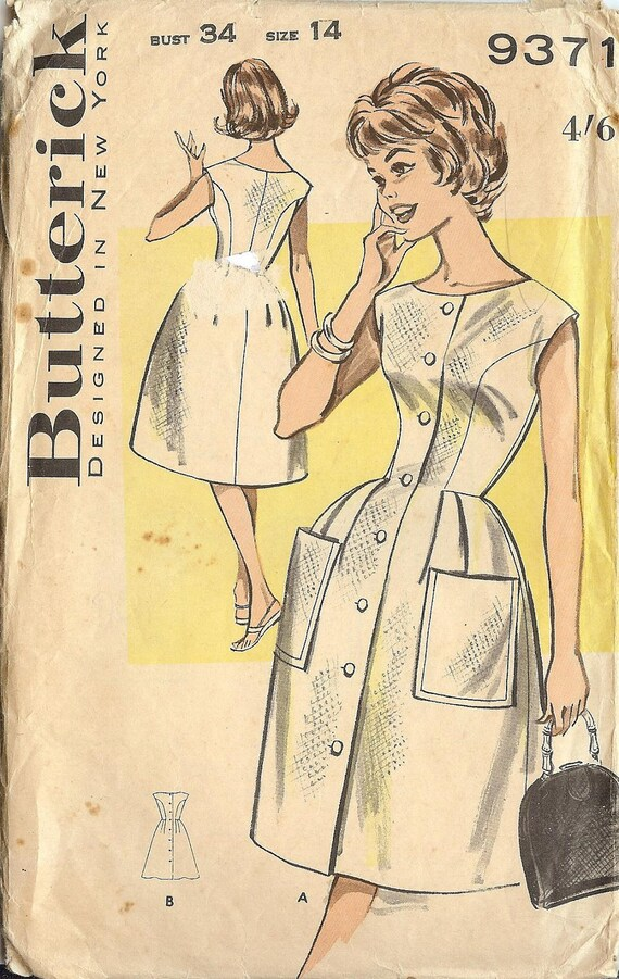 PATTERN Dress Butterick 9371 Size 14 Vintage Uncut