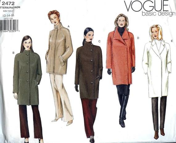 PATTERN Ladies Coat with Collar variations Vogue 2472 Size 6-8-10 Vogue basic design (uncut)