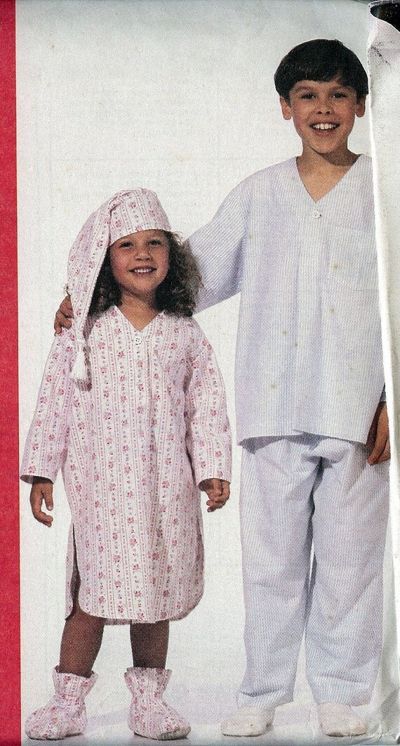 PATTERN Childrens Nightshirt Pajamas Hat Bootees Stitch&Save 6265 Size XS2-4/S6-7 uncut