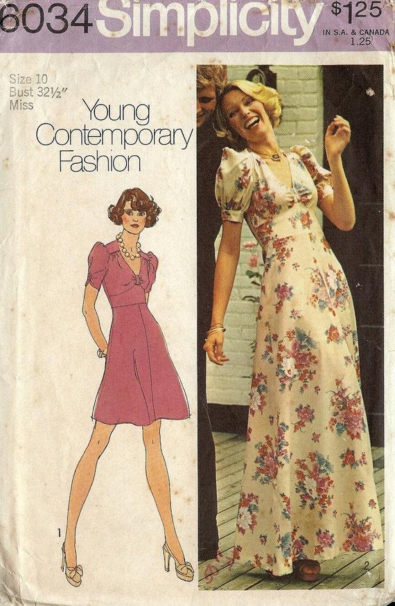 PATTERN Simplicity 6034 Maxi/Mini Dress V neckline A LIne skirt Size 10 Vintage