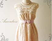 Amor Vintage Inspired- - Romantic Style Sweet Pale Pink Flower Filigree  Lace with Pretty Knitted Wool Tunic Top Fit XS and S