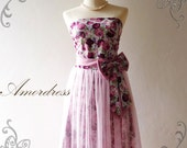 NEW-Amor Vintage Inspired- Princess Romance- Romantic Bella Queen of Rose Strapless Dress for Wedding, Prom, Any Special Occasion- Fit XS-