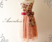 LIMITED--Amor Vintage Inspired- Princess Romance- Rose Paradise Tulle Dress for Wedding, Prom, Any Occasion-XS-S-