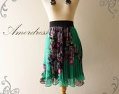 Vintage Inspired Pleated Skirt Green with Purple Pink Charming Oriental Flower Skirt Mix and Match MIDYEAR SALE