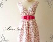 "HOT SALE Amor Vintage Inspired- Vintage Retro- White Pink Heart Vintage Cotton Dress Party or Everyday Dress 35""length"