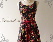 Amor Vintage Inspired Red Floral Sleeveless Dress Rose Garden -Fit XS-S -