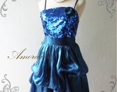 FREE SHIPPING Gorgeous in Party Amor Vintage Inspired Midnight Blue Gorgeous Wedding Prom Party Dinner Dress -Princess Romance-- Fit S-M-