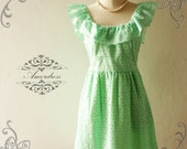 Amor Vintage Inspired Butterfly Pastel Lime Green Lace Dress Wedding Prom Party Dress for Any Occasion - Size XS-S-