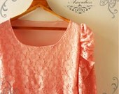 Amor Vintage Inspired Pretty Queen Pink Old Rose Floral Lace Wedding Prom Party Dress or Tunic -Size L -