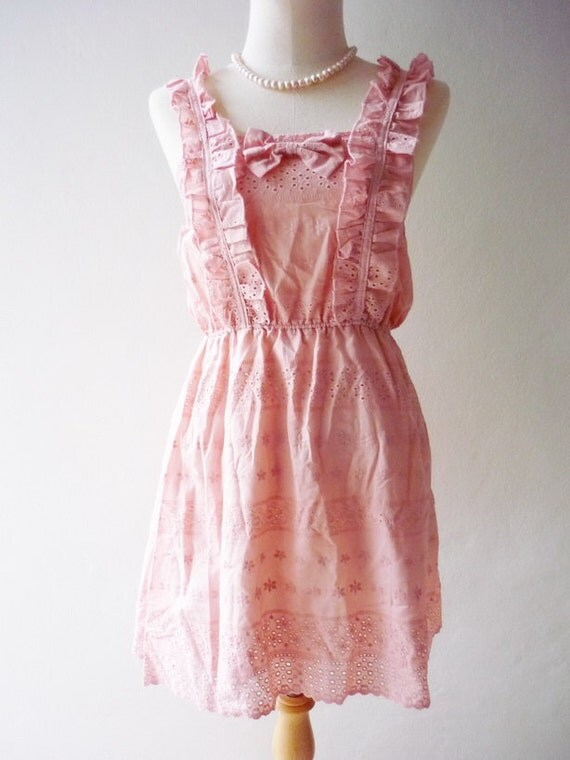 SALE TODAY- Amor Vintage Inspired- The Angel Romantic Flower Filigree Lace Mini Dress or Tunic Top S/XS
