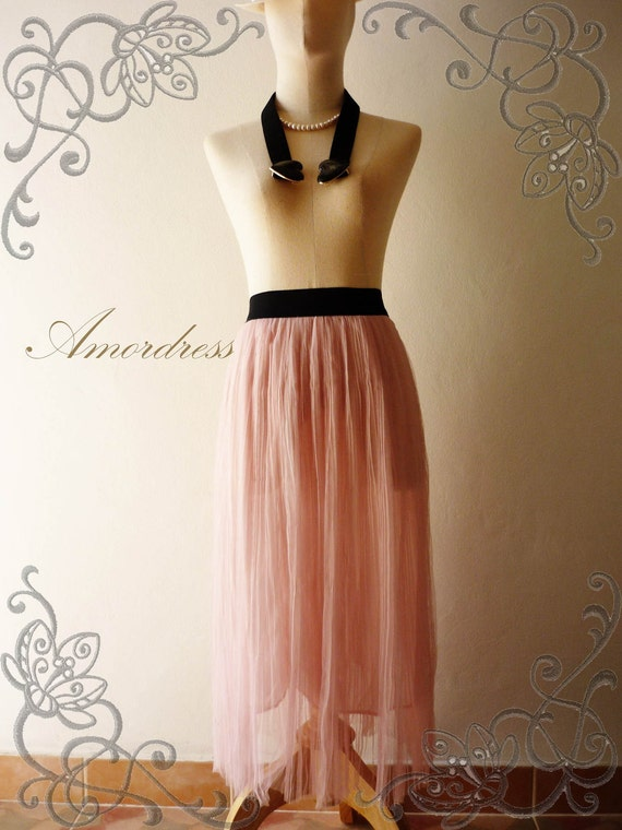 New Year SALE--Im a Tulle SKIRT, sometimes a Mini DRESS - Pastel Pink- Vintage Inspired Playful Tutu Long Skirt Mix and Match